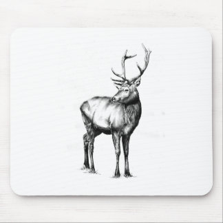 Antique stag art drawing handmade nature mouse pad