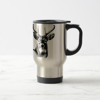 Antique stag art drawing handmade nature travel mug