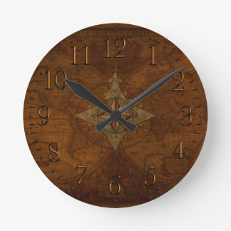 Antique Steampunk Compass Rose & Old World Map Clocks