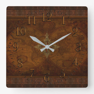 Antique Steampunk Compass Rose & Old World Map Wall Clock