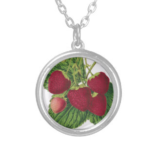 Antique Strawberry Print Necklace