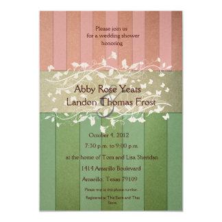 Antique Stripes Pink Green Wedding Shower 13 Cm X 18 Cm Invitation Card