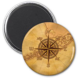 Antique Style Compass Rose 6 Cm Round Magnet
