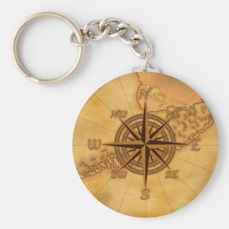 Antique Style Compass Rose Basic Round Button Key Ring