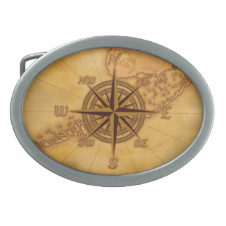 Antique Style Compass Rose Belt Buckles
