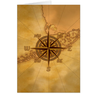 Antique Style Compass Rose Card