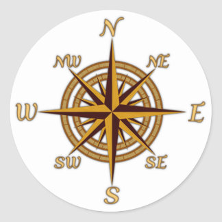 Antique Style Compass Rose Classic Round Sticker