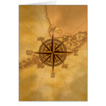 Antique Style Compass Rose Greeting Card