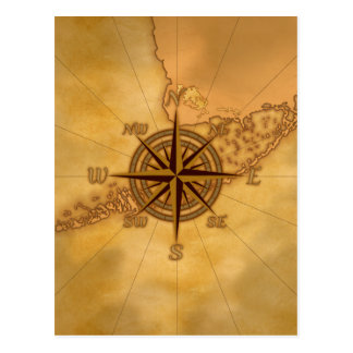 Antique Style Compass Rose Postcard