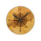 Antique Style Compass Rose Round Clock