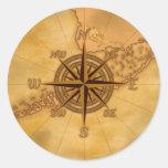 Antique Style Compass Rose Round Sticker