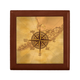 Antique Style Compass Rose Small Square Gift Box