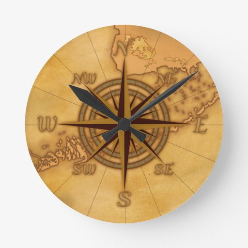 antique style compass rose wall clock zazzle