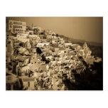 Antique style postcards of Fira, Santorini