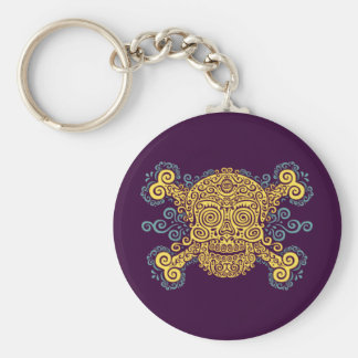 Antique Sugar Skull Basic Round Button Key Ring