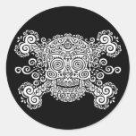 Antique Sugar Skull & Crossbones II Round Sticker