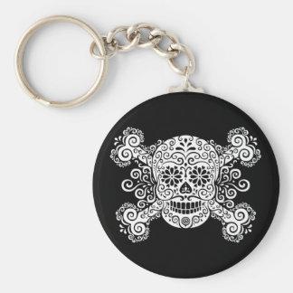 Antique Sugar Skull & Crossbones Key Ring