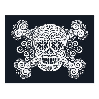 Antique Sugar Skull & Crossbones Postcard