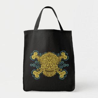 Antique Sugar Skull Grocery Tote Bag