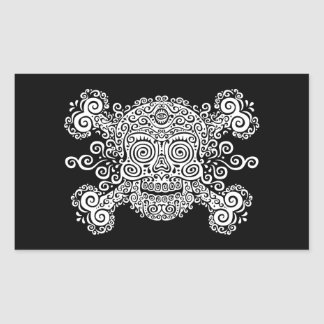 Antique Sugar Skull Rectangular Sticker