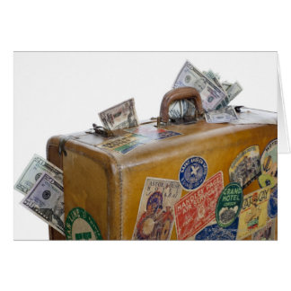 Antique suitcase with protruding money card