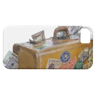 Antique suitcase with protruding money iPhone 5 covers