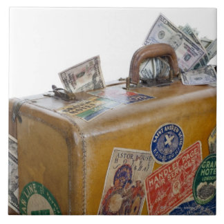 Antique suitcase with protruding money large square tile