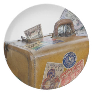 Antique suitcase with protruding money plate