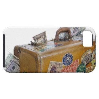 Antique suitcase with protruding money tough iPhone 5 case