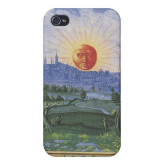 Antique Sun Face Over Blue City Flowers Speck Case Cover For iPhone 4