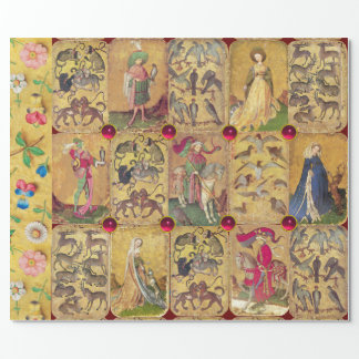 Antique Tarots /German Court Cards /Falcons,Deers Wrapping Paper
