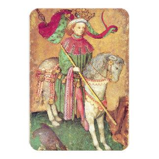 Antique Tarots /German Court Cards/King of Falcons 9 Cm X 13 Cm Invitation Card