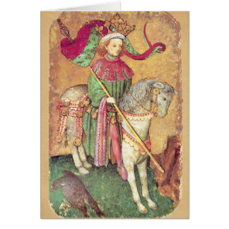 Antique Tarots /German Court Cards/King of Falcons Greeting Card