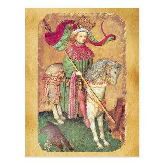 Antique Tarots /German Court Cards/King of Falcons Postcard