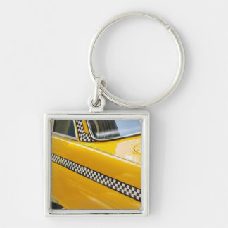 Antique Taxi Silver-Colored Square Key Ring