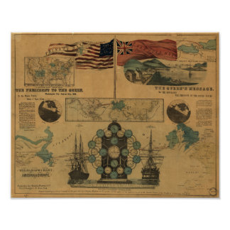 Antique Telegraph Chart - US to England 1858 Poster