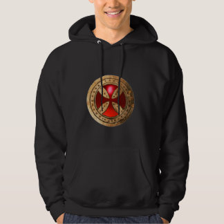 ANTIQUE TEMPLAR CROSS Red Ruby Gem Hoodie