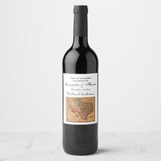 * Antique Texas Map #1 Wine Label