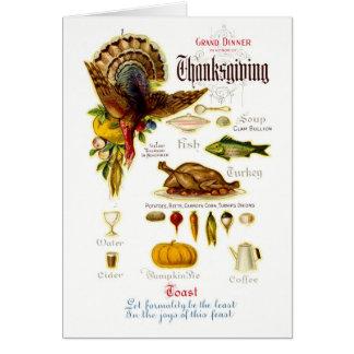 Antique Thanksgiving Menu Greeting Card