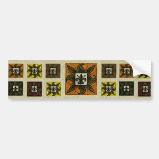 Antique Tiled Fleur de Lis (Orange) Bumper Sticker