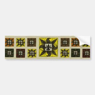 Antique Tiled Fleur de Lis (Yellow) Bumper Sticker