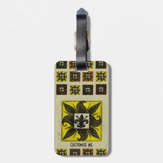 Antique Tiled Fleur de Lis (Yellow) Luggage Tag