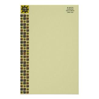Antique Tiled Fleur de Lis Yellow Stationery