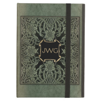 Antique Tooled Leather Monogram Book Cover
