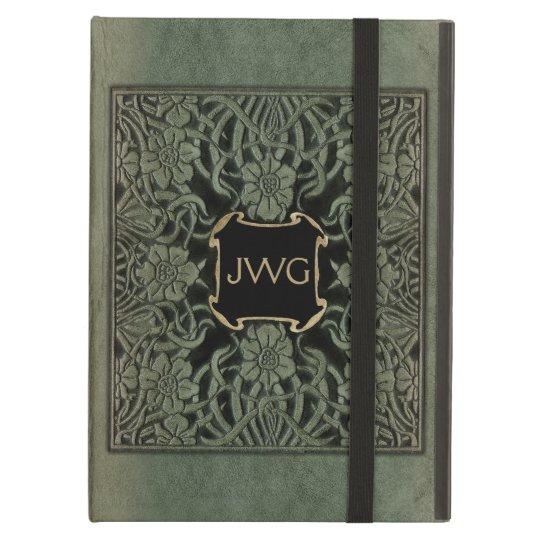 Antique Tooled Leather Monogram Book Cover iPad Air
