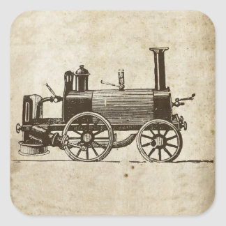 Antique Toy Steam Train Square Sticker