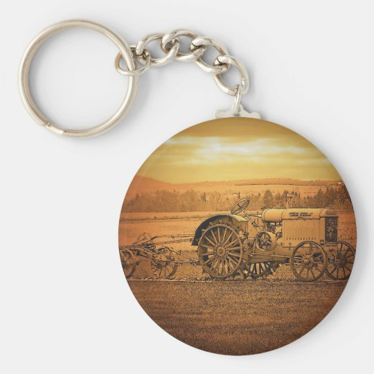 Antique Tractor Basic Round Button Key Ring