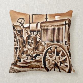 Antique Tractor Farm Equipment Classic Sepia Cushion