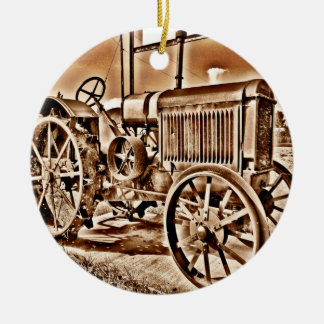 Antique Tractor Farm Equipment Classic Sepia Double-Sided Ceramic Round Christmas Ornament