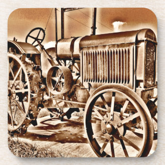 Antique Tractor Farm Equipment Classic Sepia Drink Coasters